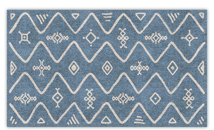 Serena - Vinyl Floor Mat - Blue ethnic pattern
