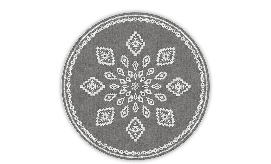 Round Samara - Vinyl Floor Mat - Gray ethnic pattern