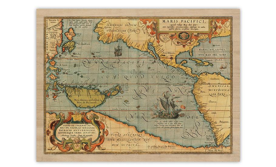 מפת האוקיינוס השקט מ-1589 מודפסת על לוח עץ