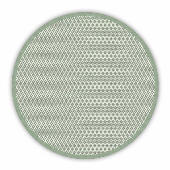 Round Margo - Vinyl Floor Mat - Green graphic pattern
