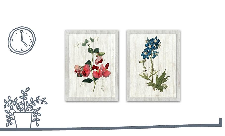 תמונת עץ זוג פרחים בוטני1 במגוון מידות