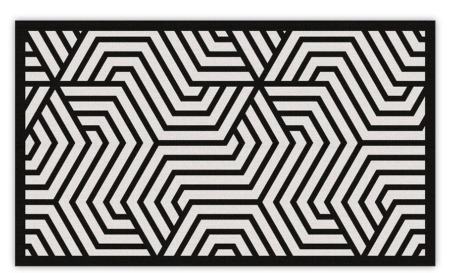 Manhattan - Vinyl Floor Mat - Black graphic pattern