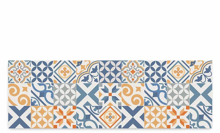 Portugal - Vinyl Table Runner - Blue and orange mix tiles pattern