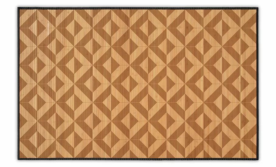 Parquet - Bamboo Mat - Light brown geometric pattern