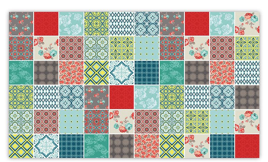 Patch - Vinyl Floor Mat - Mixed tiles pattern