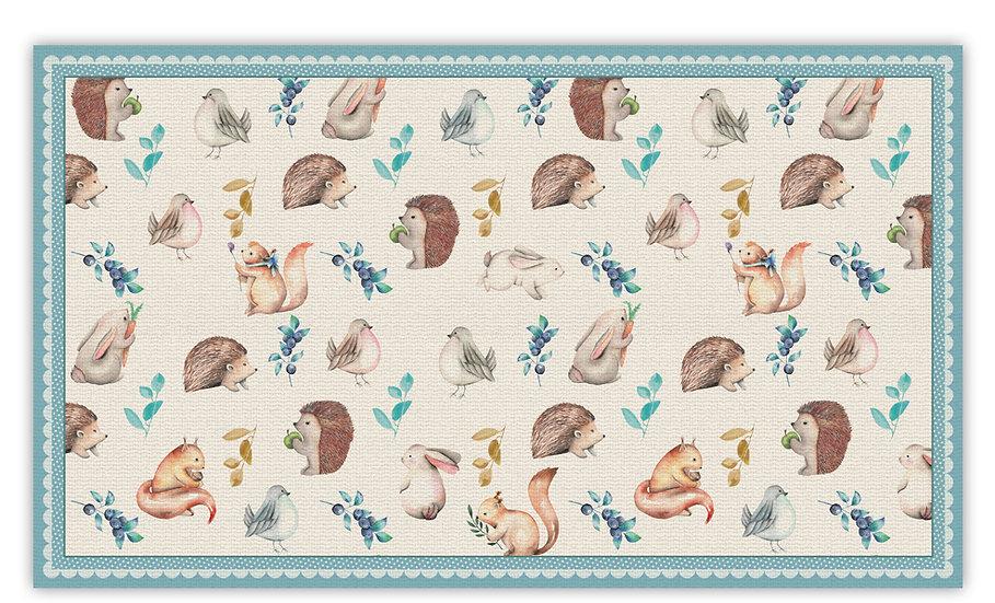 שטיח פיויסי חיות מצויירות תכלת לילדים - במגוון מידות