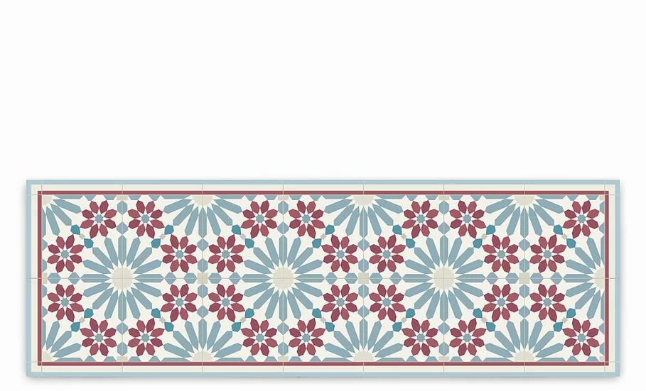 Marrakesh - Vinyl Table Runner - Bordeaux and blue Moroccan tiles pattern