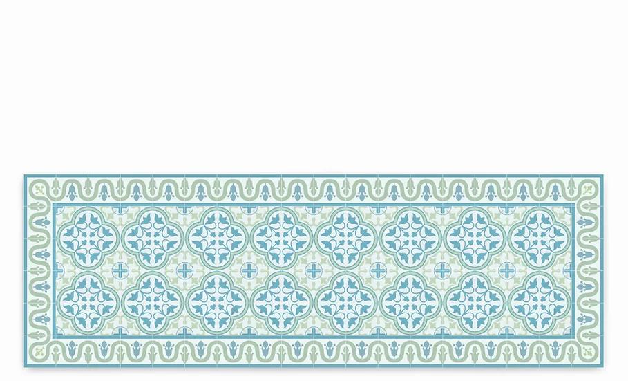 Andrea - Vinyl Table Runner - Aqua Spanish tiles pattern
