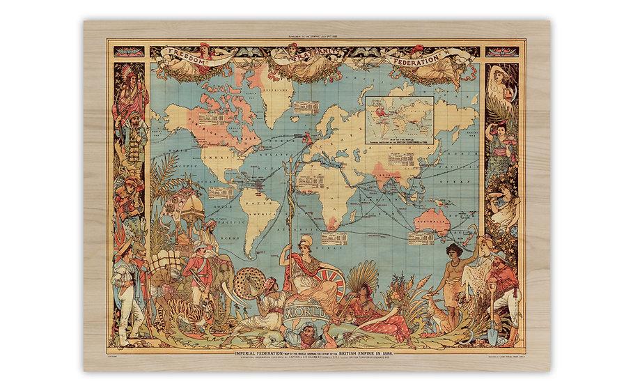 מפה עתיקה על עץ במגוון מידות - האימפריה הבריטית 1886