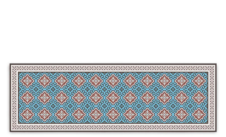 Clasico - Vinyl Table Runner - Turquoise Spanish tiles pattern