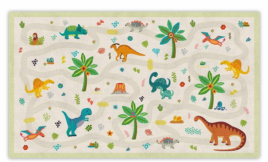 Dinosaurs  Maze - Vinyl Floor Mat - Colorful animals theme pattern