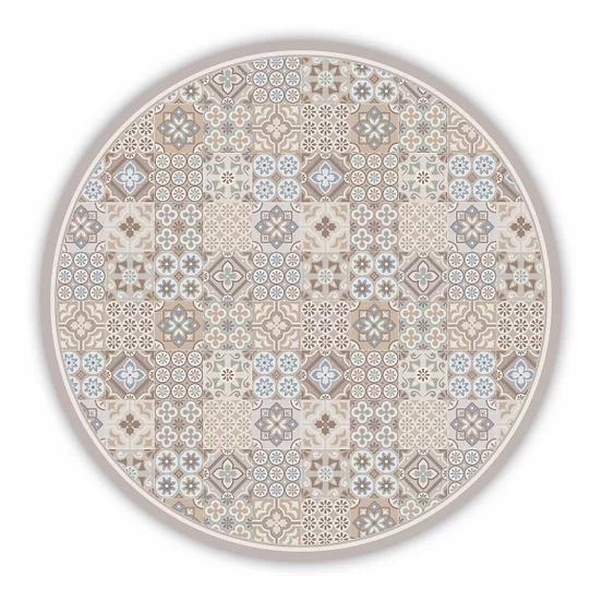 Round Retro - Vinyl Floor Mat - Beige mixed tiles pattern