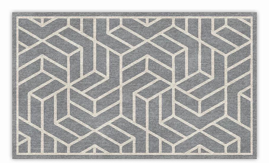 Chelsea - Vinyl Floor Mat - Gray graphic pattern