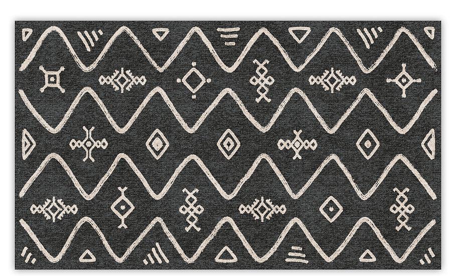 Serena - Vinyl Floor Mat - Dark gray ethnic pattern