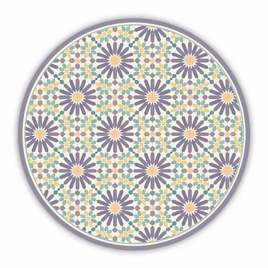 Round Marrakesh - Vinyl Floor Mat - Purple and yellow Moroccan tiles pattern