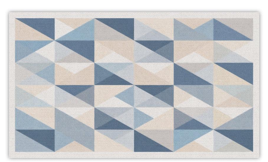 שטיח פיויסי עבה משולשים כחולים - במגוון מידות החל מ