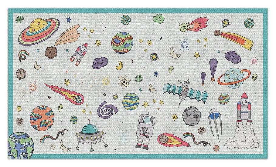 Space  - Vinyl Floor Mat - Light blue cosmic theme pattern