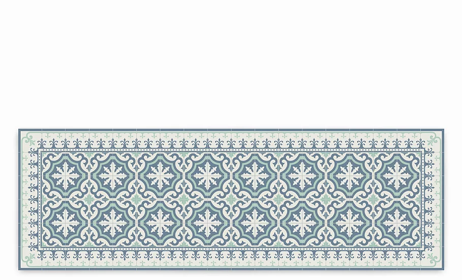 Tuscany - Vinyl Table Runner - Turquoise and blue classic tiles pattern