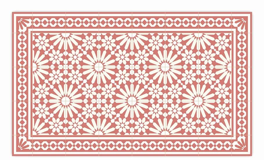 Tangier - Vinyl Floor Mat - Terracotta Moroccantiles pattern