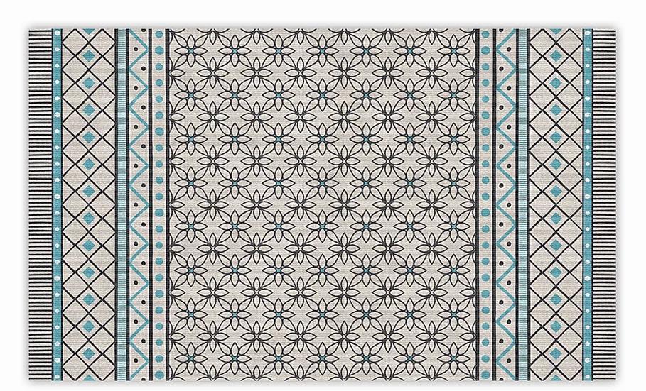 Almond - Vinyl Floor Mat - Light blue geometric pattern