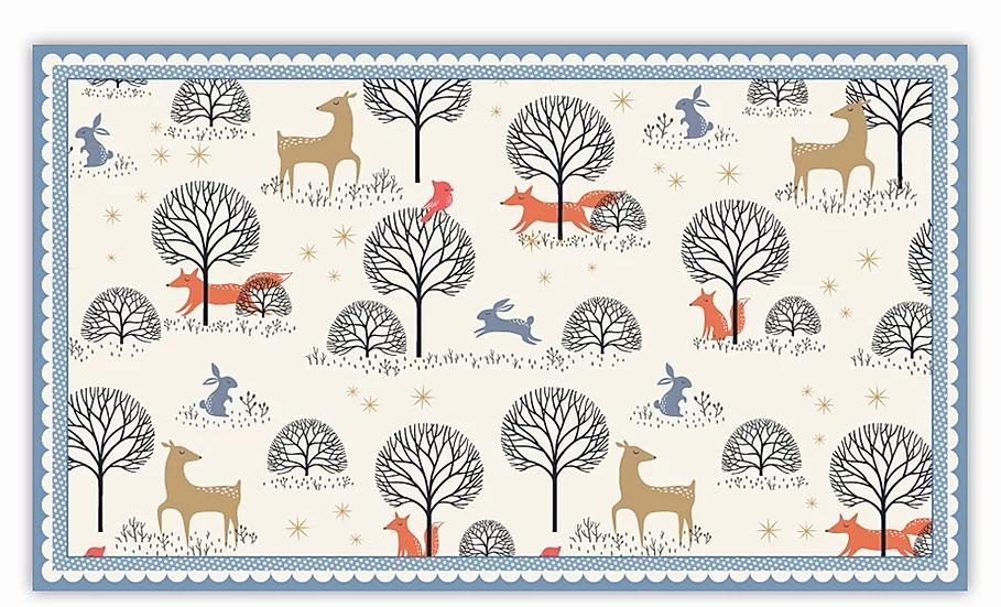 In the Forest - Vinyl Floor Mat - Blue animals theme pattern