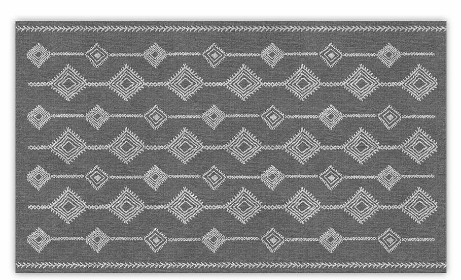 Shiraz - Vinyl Floor Mat - Dark gray ethnic pattern