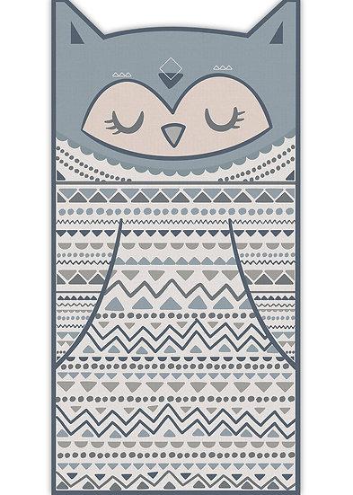 שטיח ארוך בצורת ינשוף בגווני כחול אפור- במגוון מידות