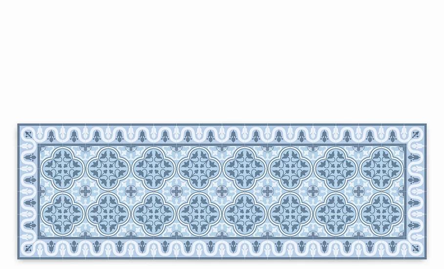 Andrea - Vinyl Table Runner - Blue Spanish tiles pattern