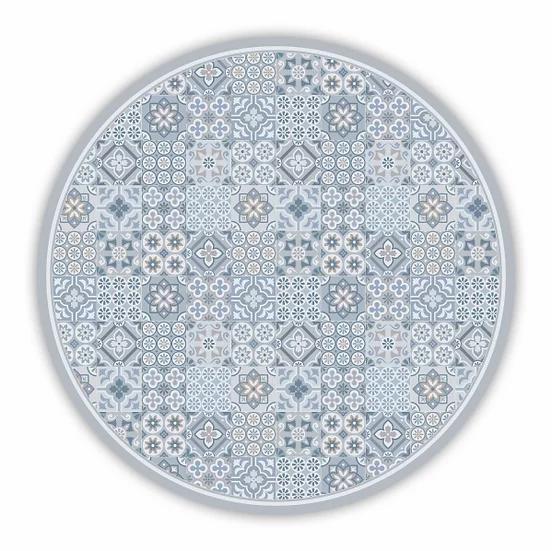 Round Retro - Vinyl Floor Mat - Gray mixed tiles pattern
