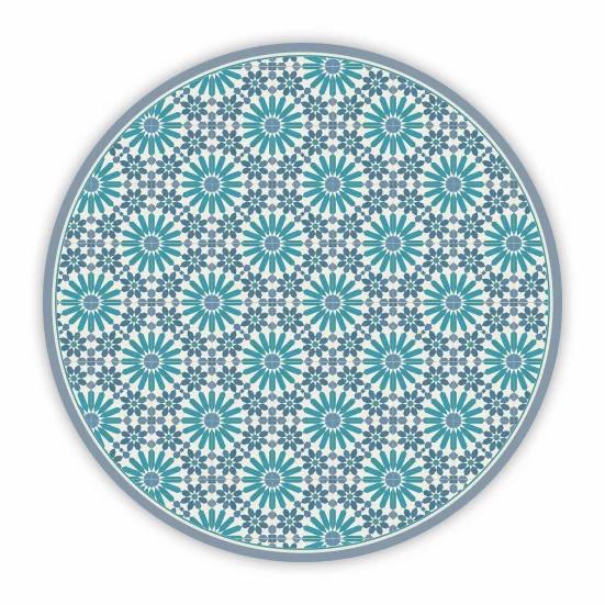 Round Marrakesh - Vinyl Floor Mat - Blue and turquoise Moroccan tiles pattern