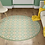 Thumbnail: Round Andrea - Vinyl Floor Mat - Green Spanish tiles pattern