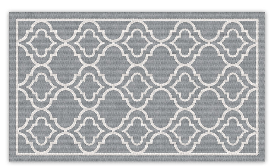 Delhi - Vinyl Floor Mat - Gray classic ethnic pattern
