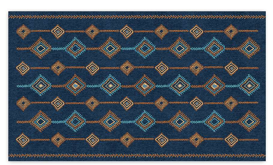 Shiraz - Vinyl Floor Mat - Blue ethnic pattern