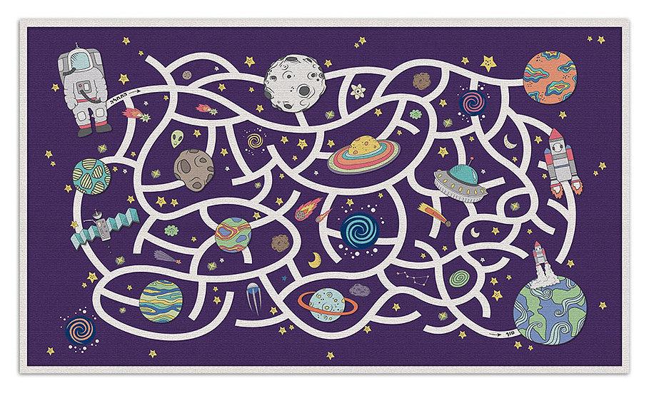Space Maze  - Vinyl Floor Mat - Purple cosmic theme pattern