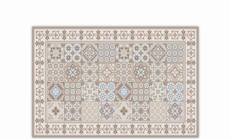 Retro - Vinyl Table Placemat - Beige mixed tiles pattern