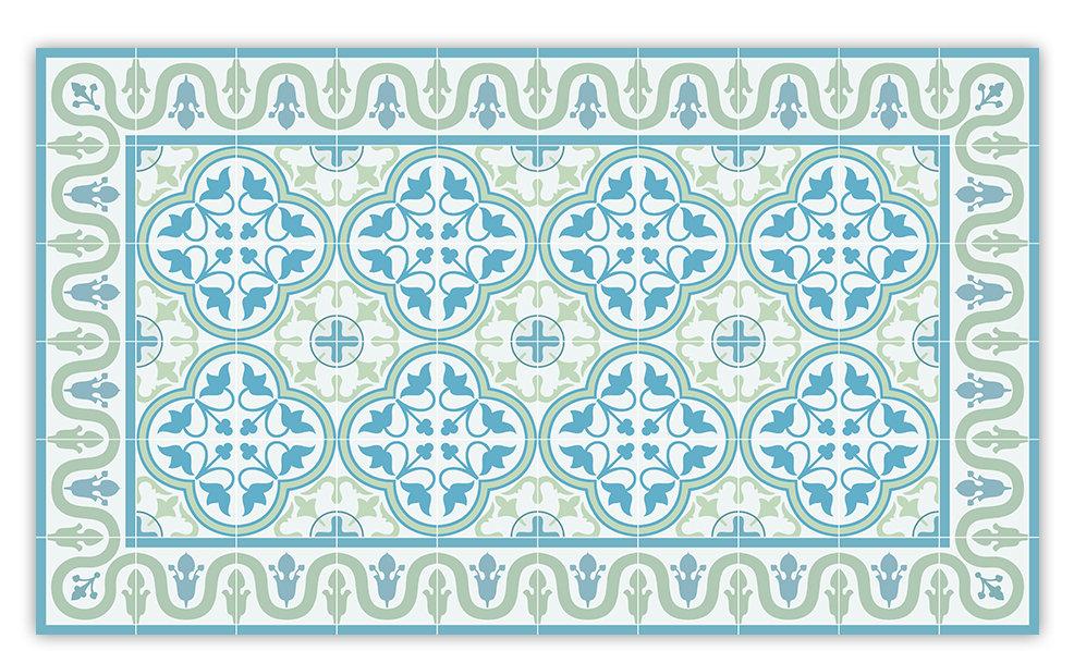 Vinyl Floor Mat With Tiles In Turquoise
