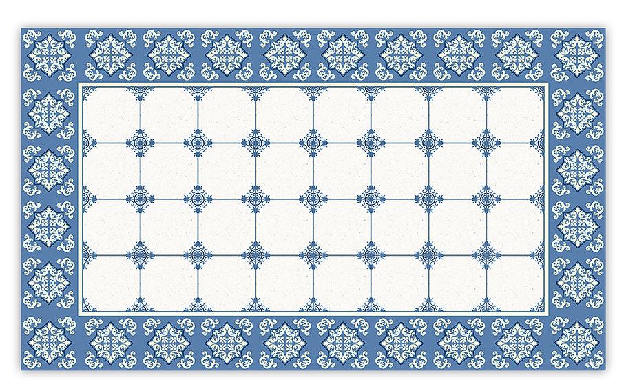 William - Vinyl Floor Mat - Blue classic tiles pattern