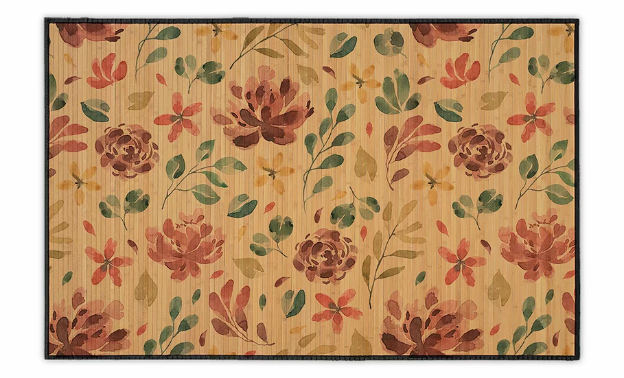 Galilee - Bamboo Mat - Colorful botanical pattern