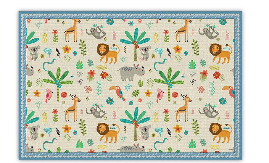 Jungle  - Vinyl Floor Mat - Blue  animals theme pattern