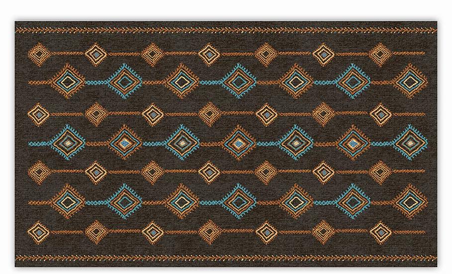 Shiraz - Vinyl Floor Mat - Brown ethnic pattern