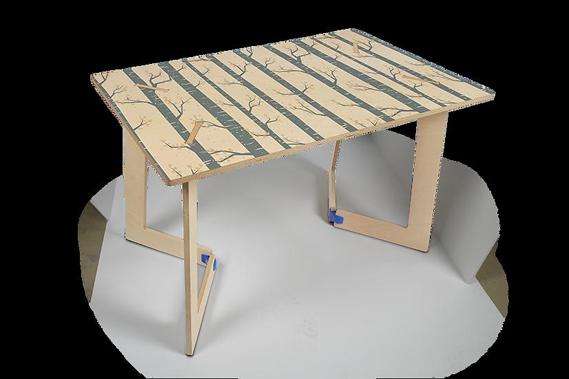 """שולחן עץ מודפס - דגם קאריה עצים כחול 118/74 ס""""מ"""