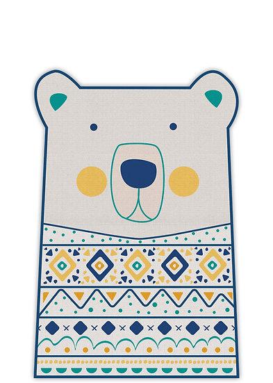 שטיח קצר בצורת דב בגוון כחול וצהוב - במגוון מידות