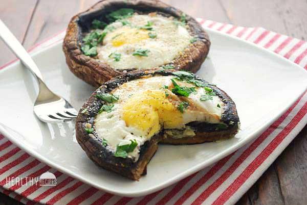 Baked Egg and Portobello Mushroom: