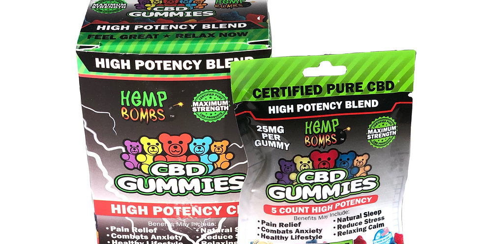 (Case of 12) CBD High Potency Gummies 5-count (125MG)