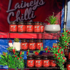 Lainey's Chilli Oils at a Market
