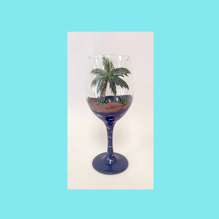 Hand Painted Wine Glass - set of 2