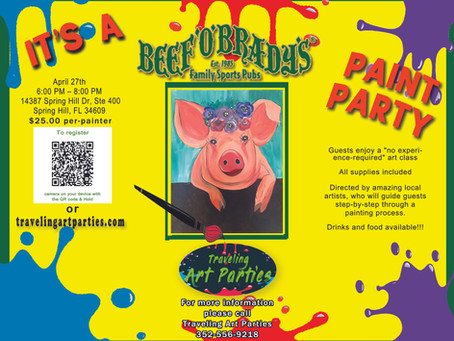 Have a great night out at Beef O' Brady's Paint Party. No experience required art class.