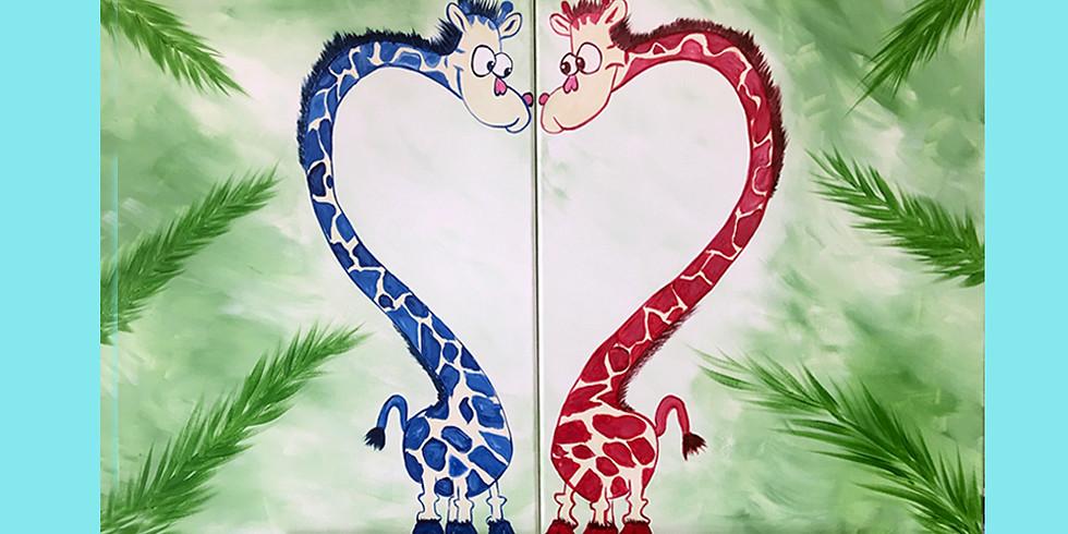 Giraffe Couple painting - 2 seats