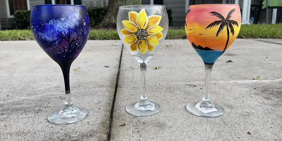 Once Upon a Vine ( Paint a set of wine glasses)