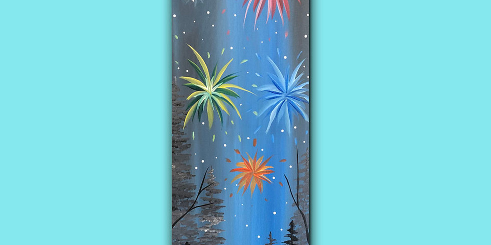 Fireworks - Happy New Years - 4ft wooden plank